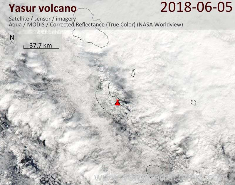 Satellite image of Yasur volcano on  5 Jun 2018