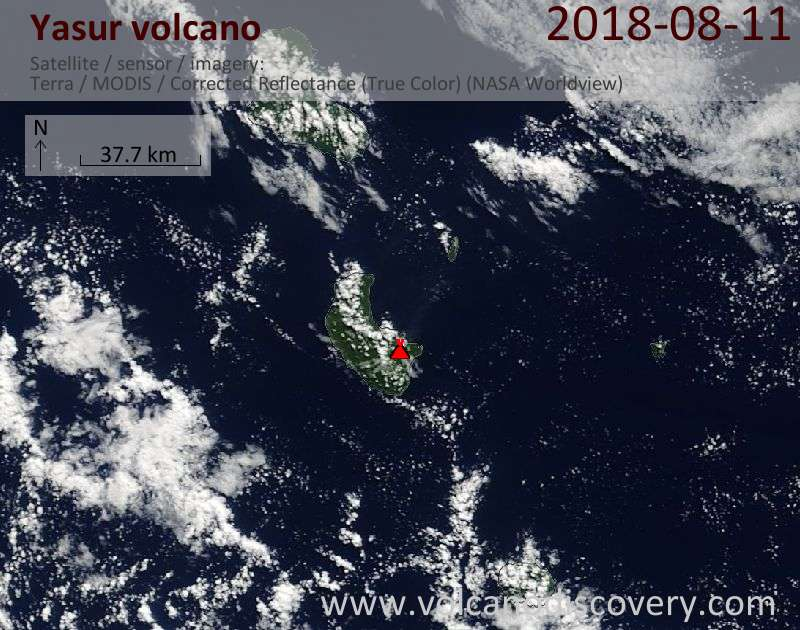 Satellite image of Yasur volcano on 11 Aug 2018