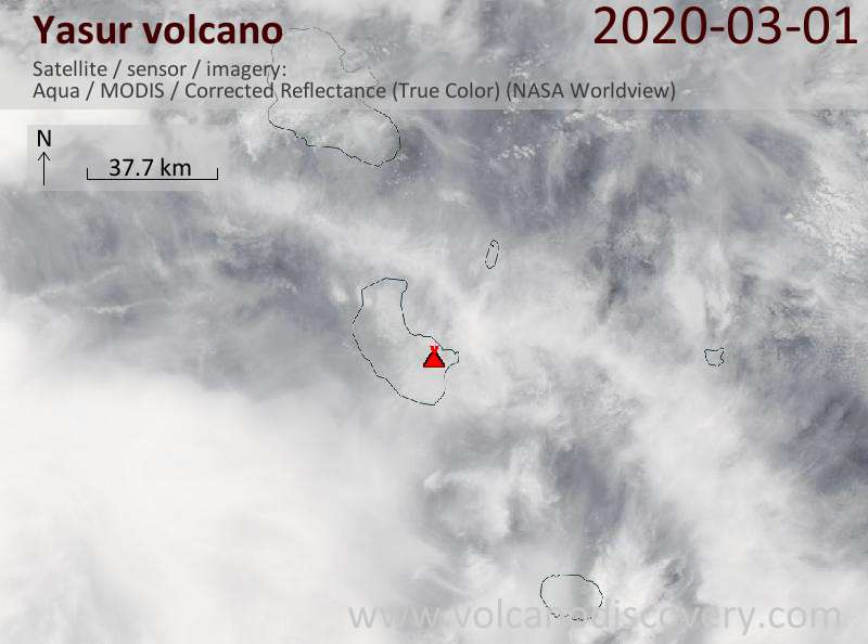 Satellite image of Yasur volcano on  1 Mar 2020