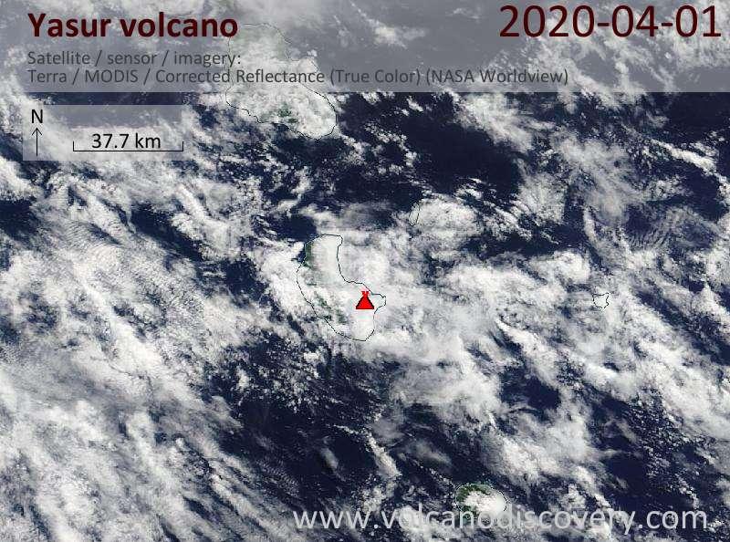 Satellite image of Yasur volcano on  1 Apr 2020