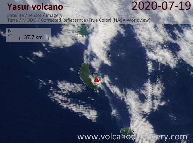 Satellite image of Yasur volcano on 19 Jul 2020