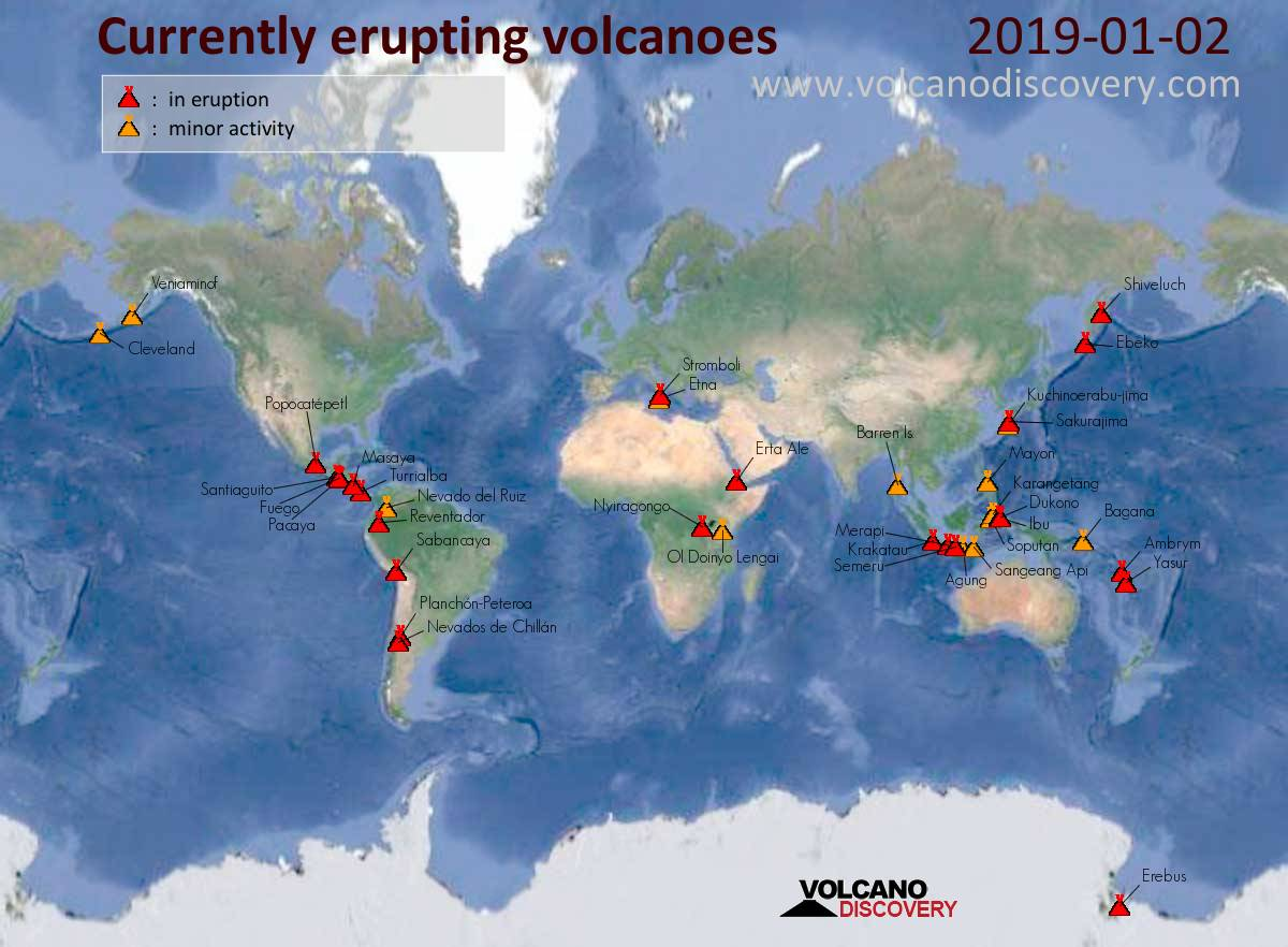 Volcanic Activity Map Volcanic activity worldwide 2 Jan 2019: Etna volcano, Stromboli
