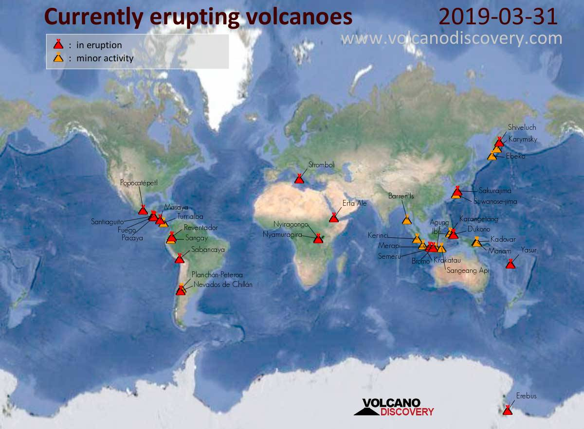 Volcanic Activity Map Volcanic activity worldwide 31 Mar 2019: Fuego volcano, Karymsky