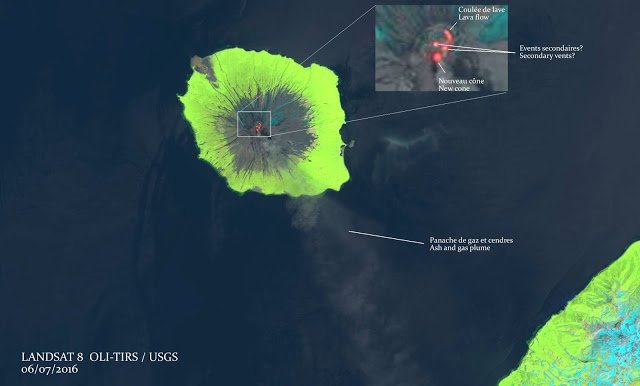 Landsat-8 image of Alaid volcano on 8 July 2016 (annotated by Culture Volcan)
