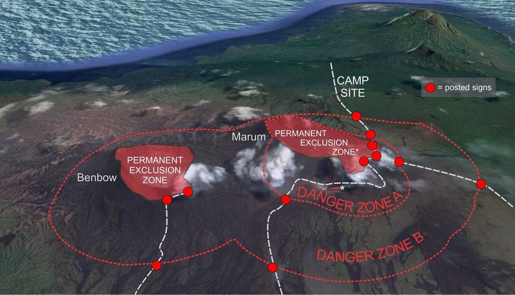Map of Ambrym's exlusion zones around Benbow and Ambrym (image: Geo-Hazards)
