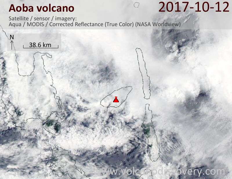 Satellite image of Aoba volcano on 12 Oct 2017