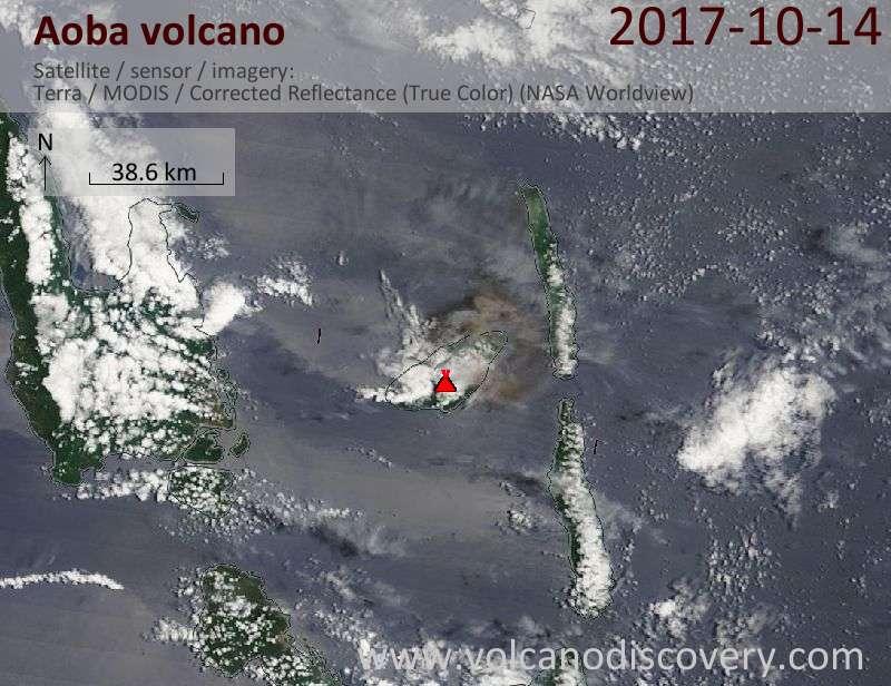 Satellite image of Aoba volcano on 14 Oct 2017