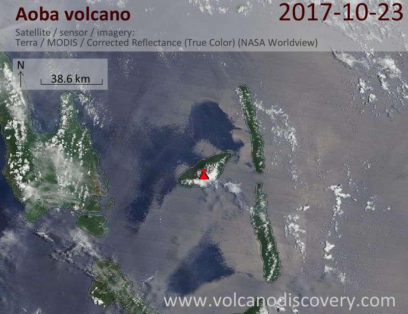 Satellite image of Aoba volcano on 23 Oct 2017