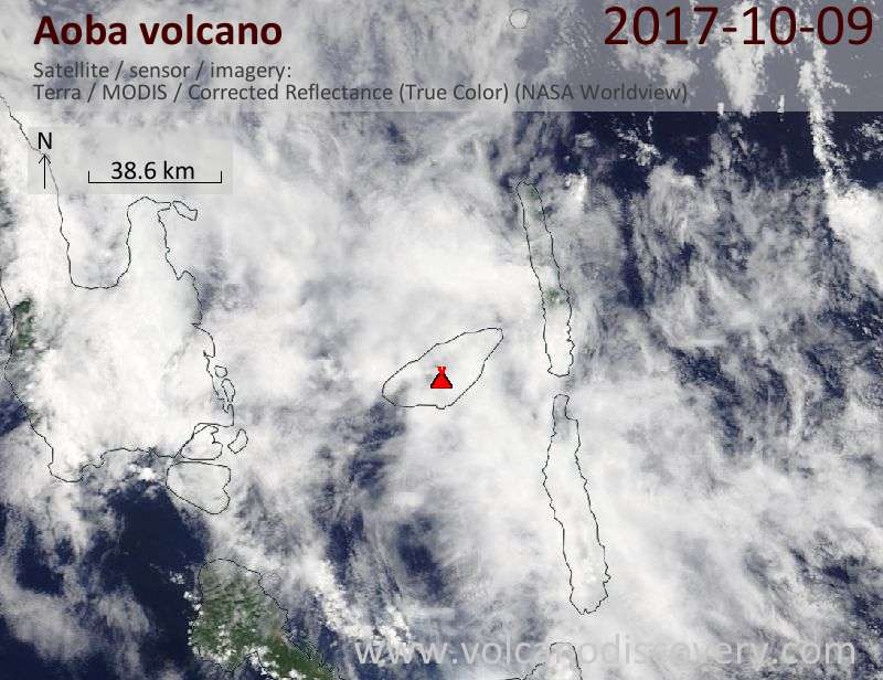Satellite image of Aoba volcano on  9 Oct 2017