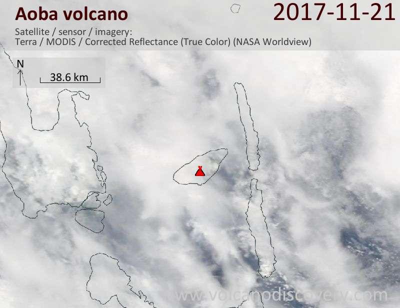 Satellite image of Aoba volcano on 21 Nov 2017