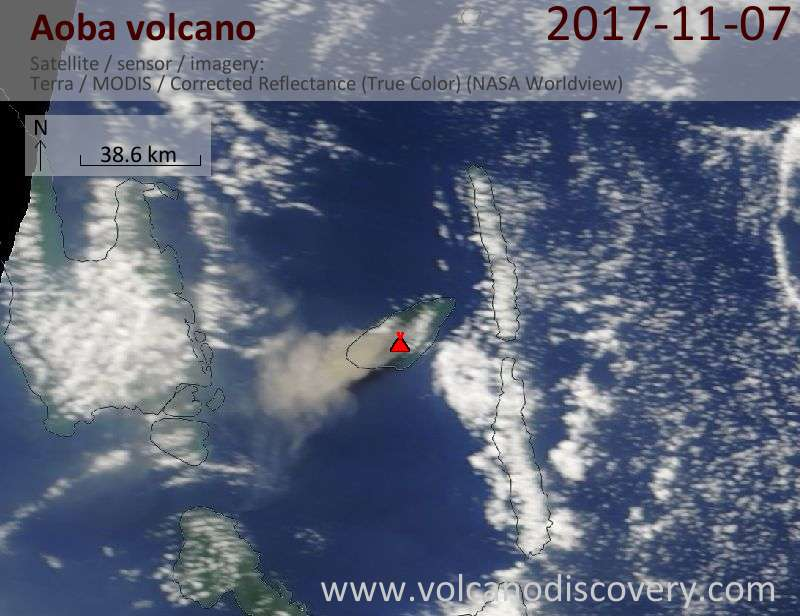 Satellite image of Aoba volcano on  7 Nov 2017
