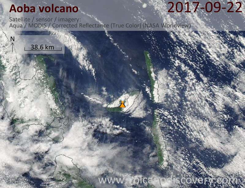 Satellite image of Aoba volcano on 22 Sep 2017