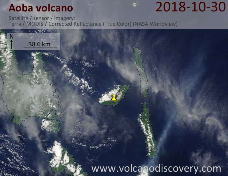Satellite image of Aoba volcano on 30 Oct 2018