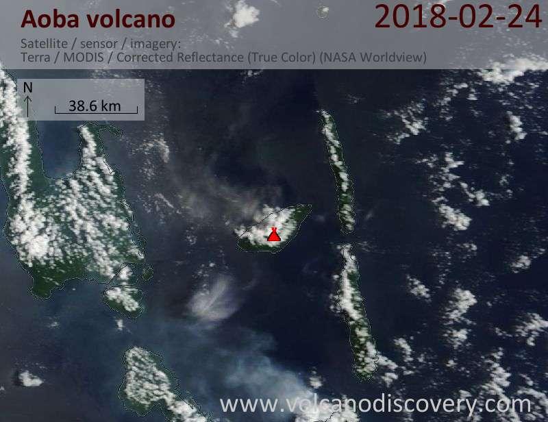 Satellite image of Aoba volcano on 24 Feb 2018