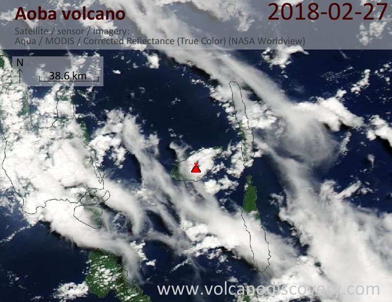 Satellite image of Aoba volcano on 27 Feb 2018