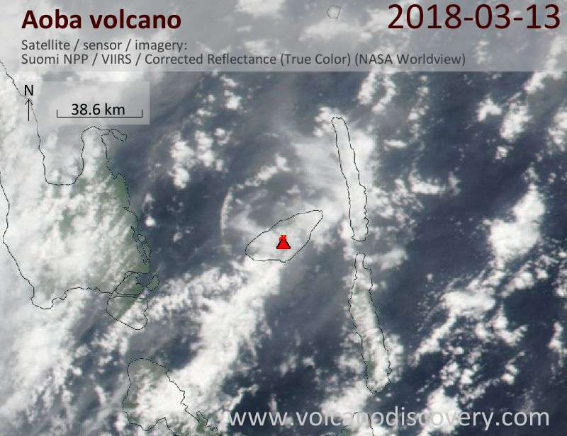 Satellite image of Aoba volcano on 13 Mar 2018