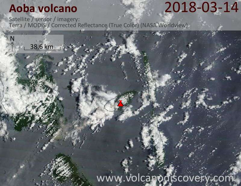 Satellite image of Aoba volcano on 14 Mar 2018