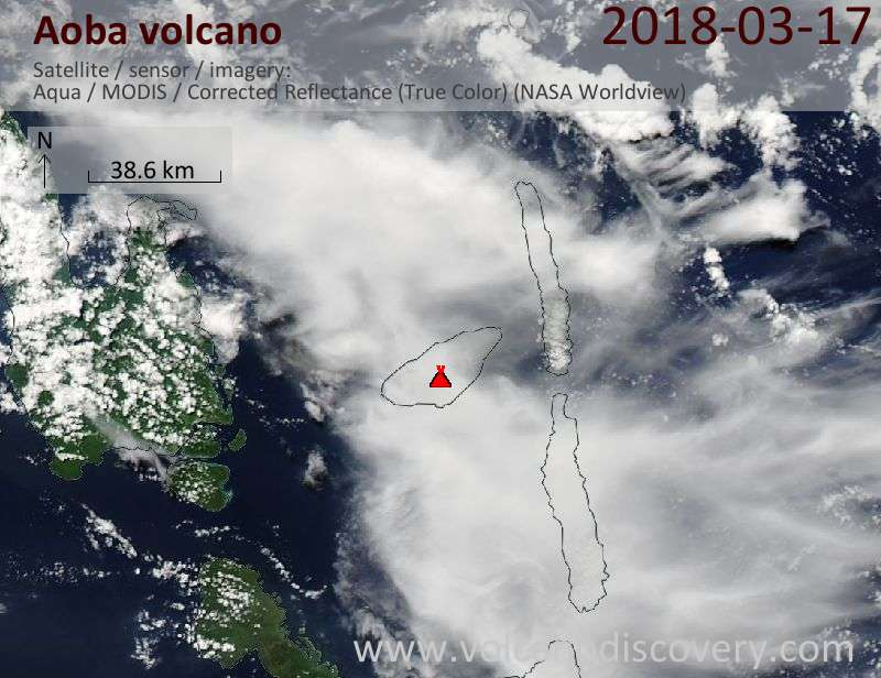Satellite image of Aoba volcano on 17 Mar 2018