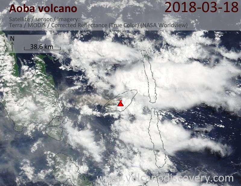 Satellite image of Aoba volcano on 18 Mar 2018