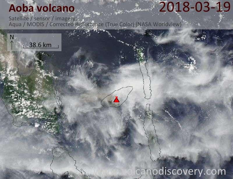 Satellite image of Aoba volcano on 19 Mar 2018