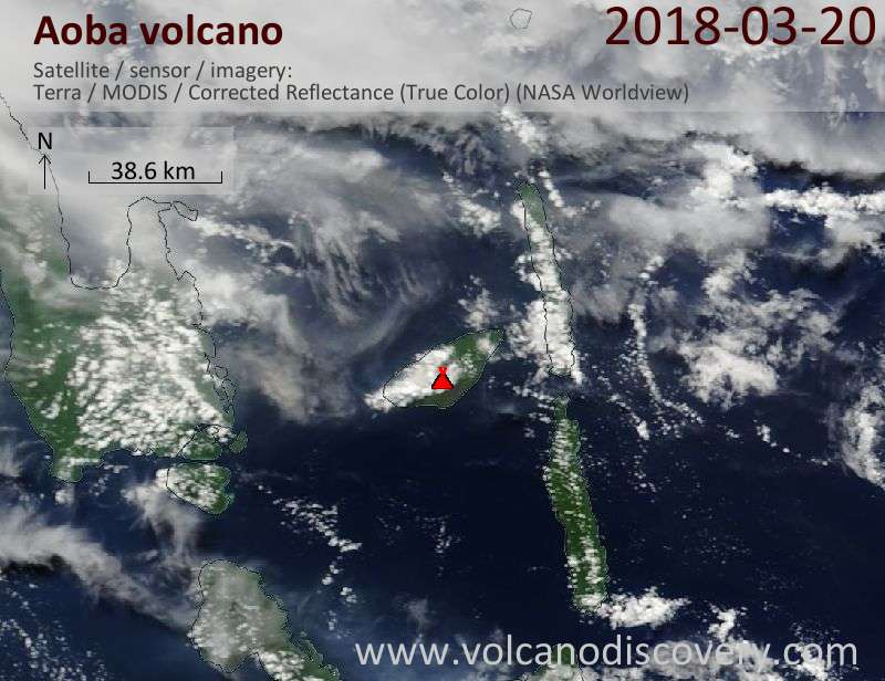 Satellite image of Aoba volcano on 20 Mar 2018