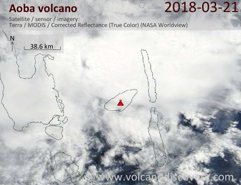 Satellite image of Aoba volcano on 21 Mar 2018