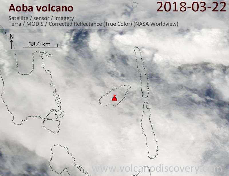 Satellite image of Aoba volcano on 22 Mar 2018