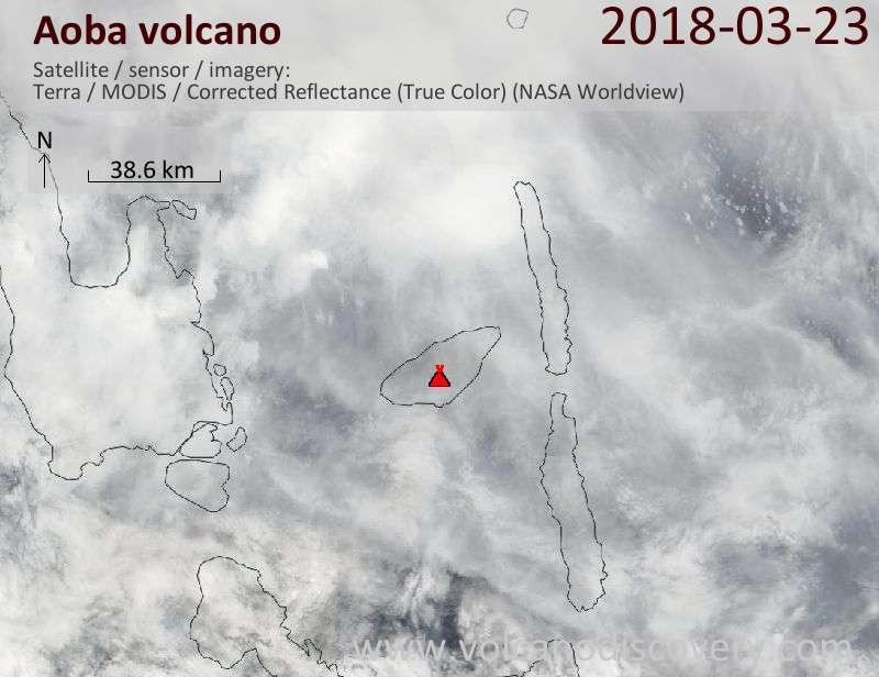 Satellite image of Aoba volcano on 23 Mar 2018