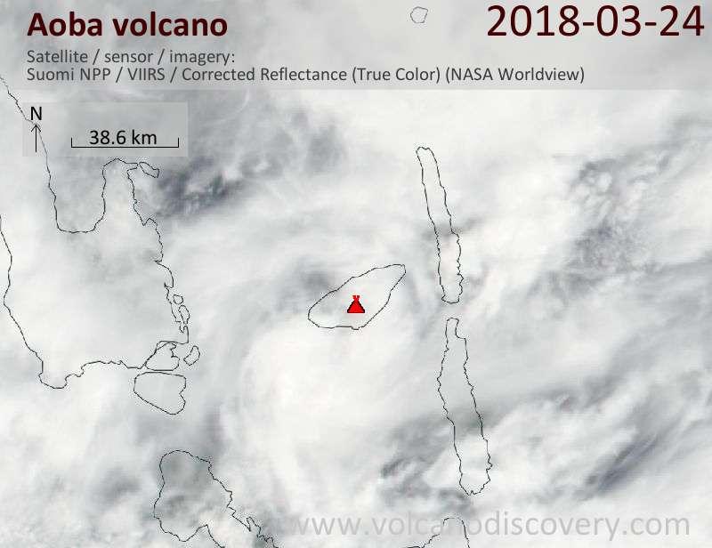 Satellite image of Aoba volcano on 24 Mar 2018