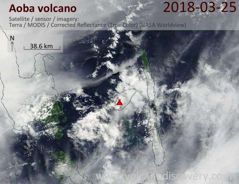Satellite image of Aoba volcano on 25 Mar 2018