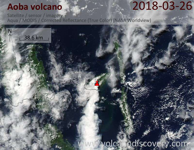 Satellite image of Aoba volcano on 26 Mar 2018