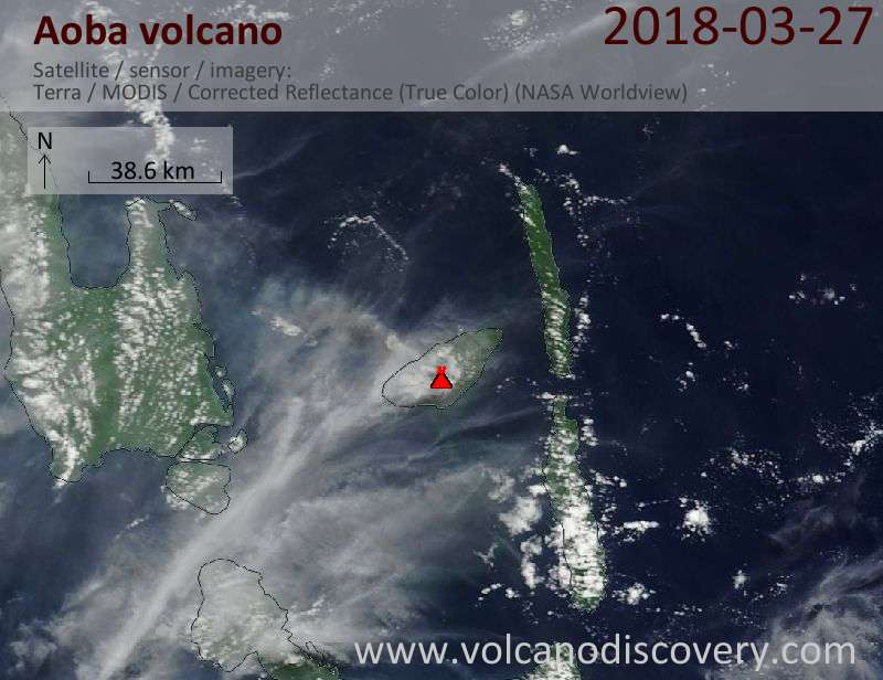 Satellite image of Aoba volcano on 27 Mar 2018