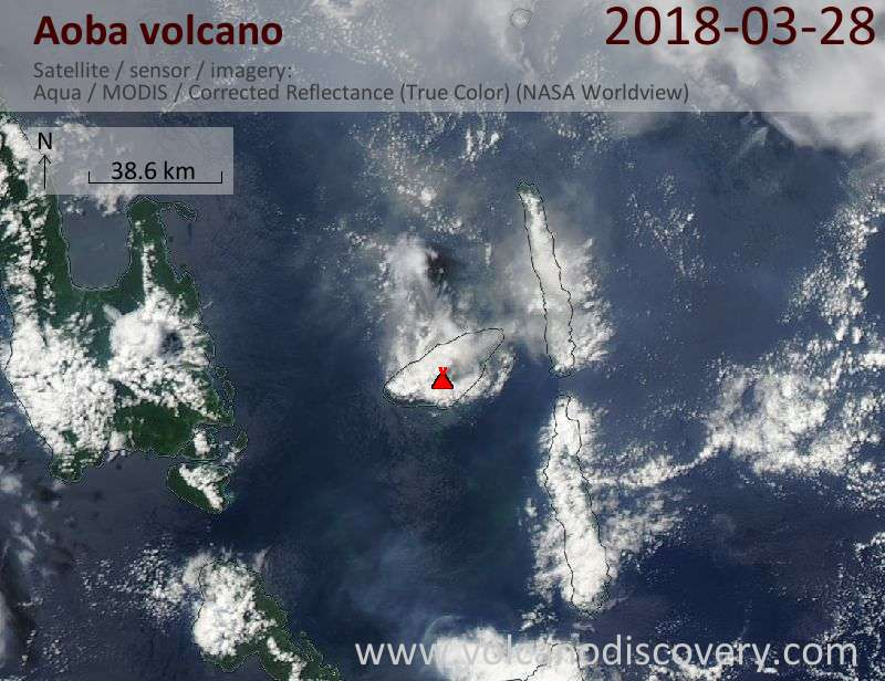 Satellite image of Aoba volcano on 28 Mar 2018