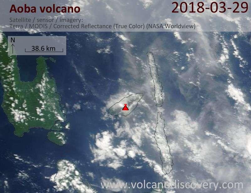 Satellite image of Aoba volcano on 29 Mar 2018