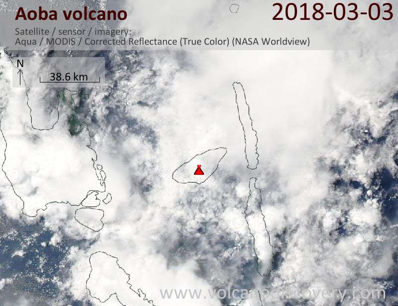 Satellite image of Aoba volcano on  3 Mar 2018