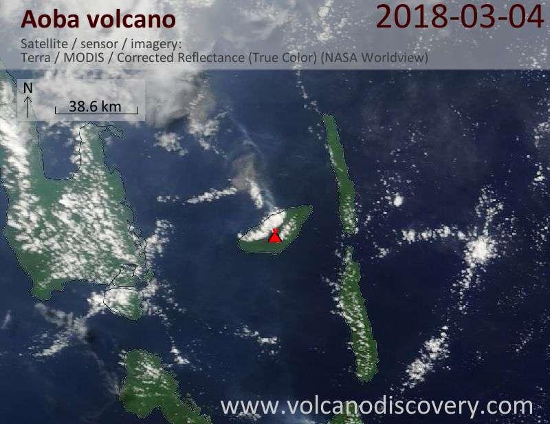 Satellite image of Aoba volcano on  4 Mar 2018