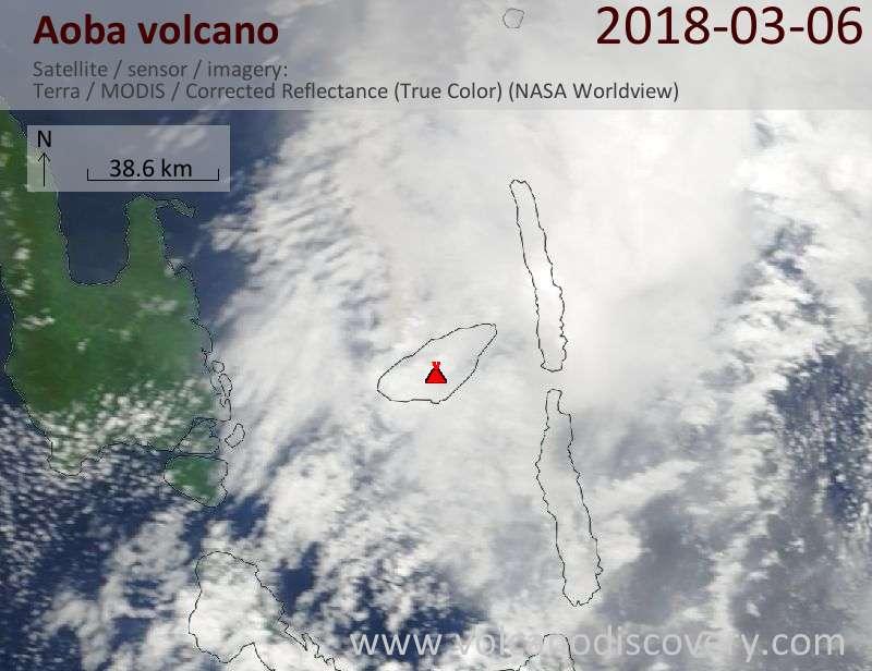 Satellite image of Aoba volcano on  6 Mar 2018