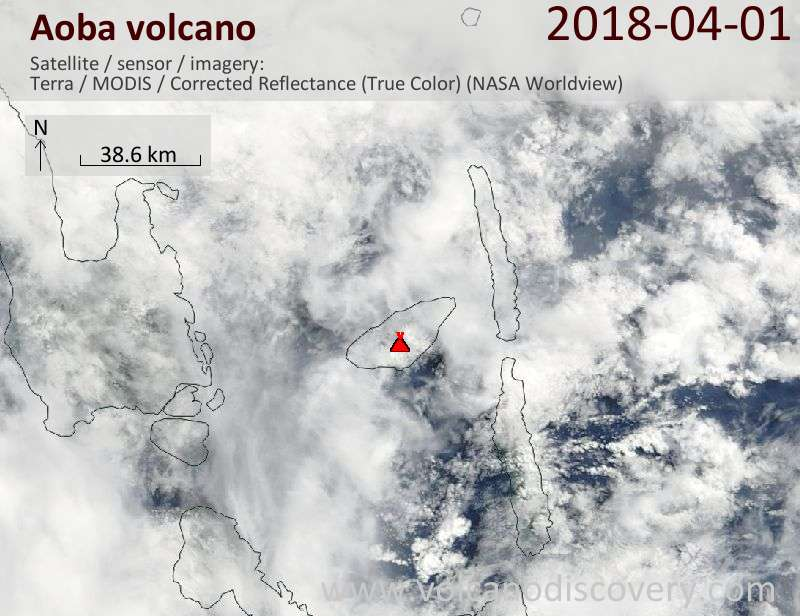 Satellite image of Aoba volcano on  1 Apr 2018