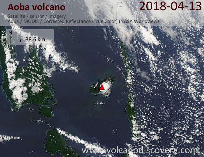 Satellite image of Aoba volcano on 13 Apr 2018