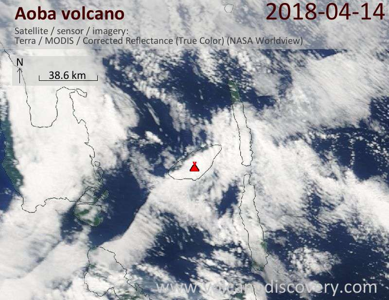 Satellite image of Aoba volcano on 14 Apr 2018