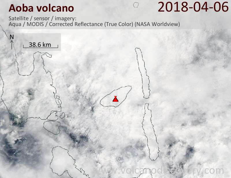 Satellite image of Aoba volcano on  6 Apr 2018