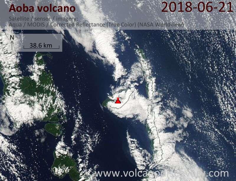 Satellite image of Aoba volcano on 21 Jun 2018