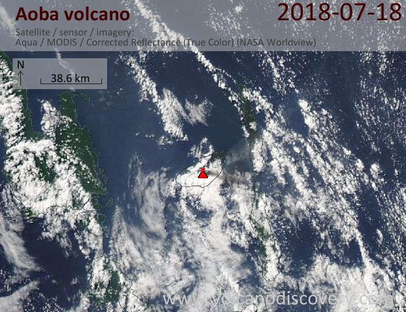 Satellite image of Aoba volcano on 18 Jul 2018