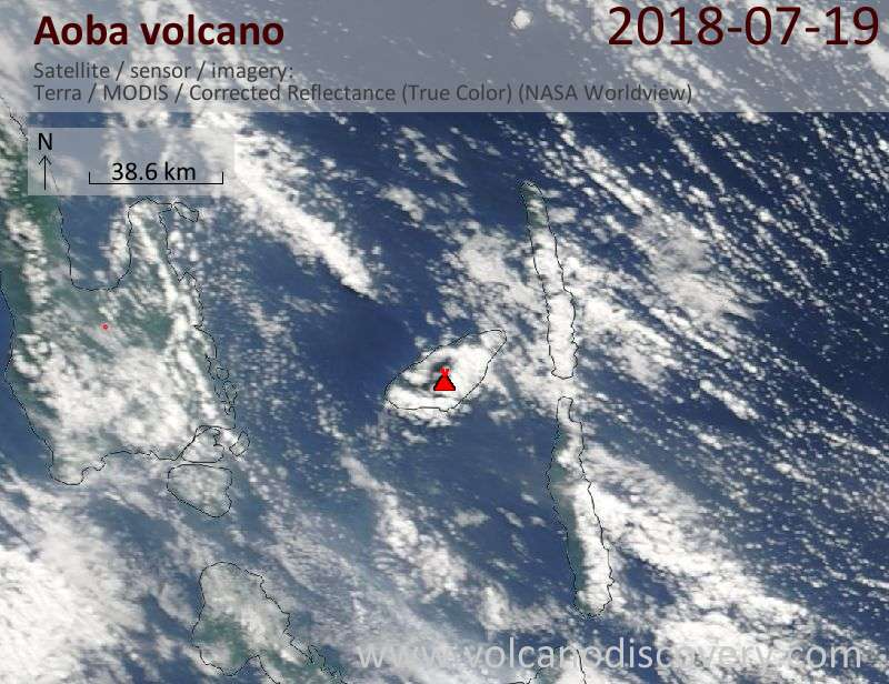 Satellite image of Aoba volcano on 19 Jul 2018