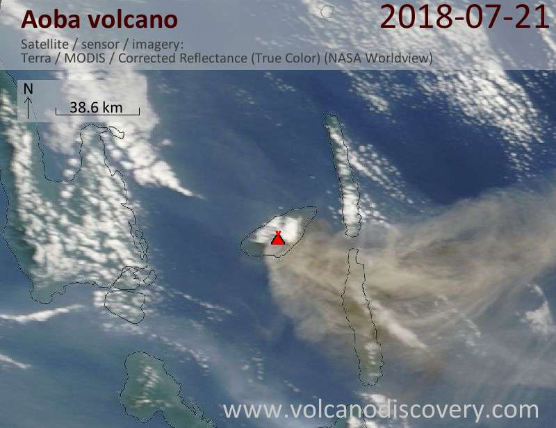 Satellite image of Aoba volcano on 21 Jul 2018