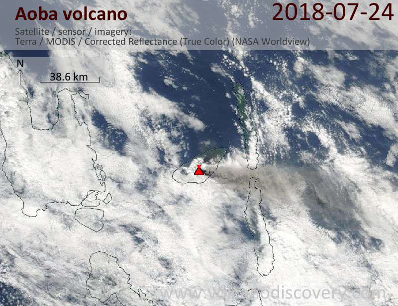 Satellite image of Aoba volcano on 24 Jul 2018