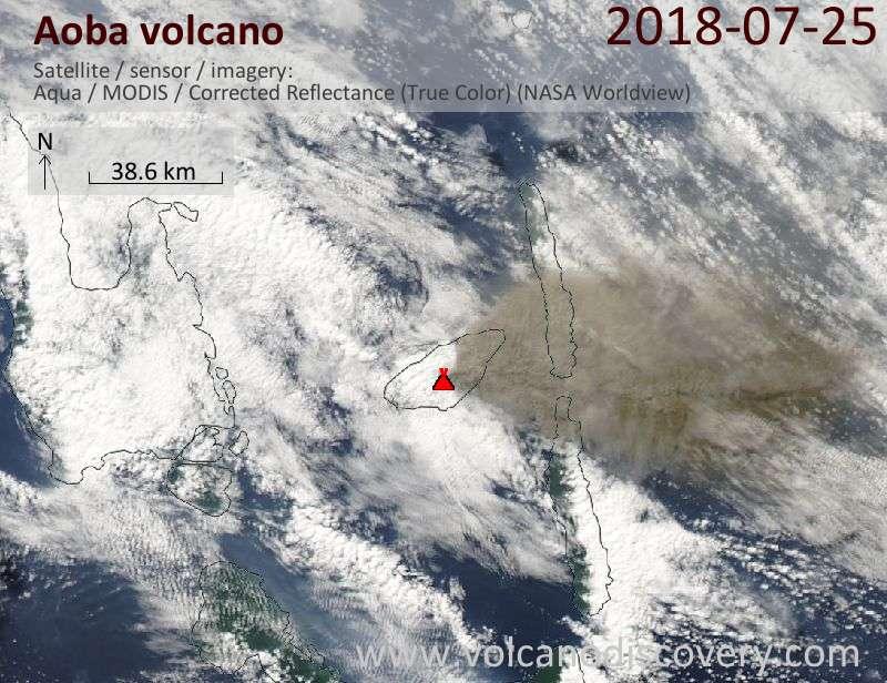 Satellite image of Aoba volcano on 25 Jul 2018