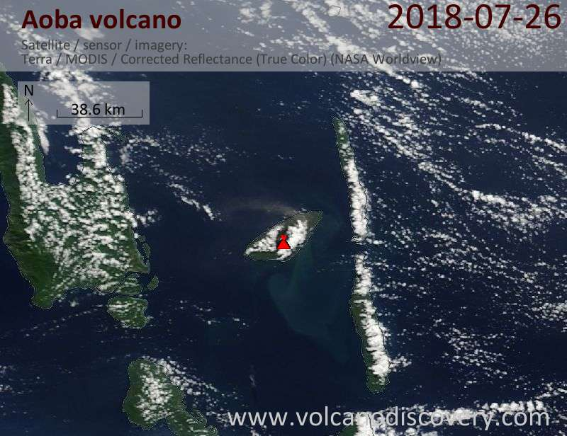 Satellite image of Aoba volcano on 26 Jul 2018