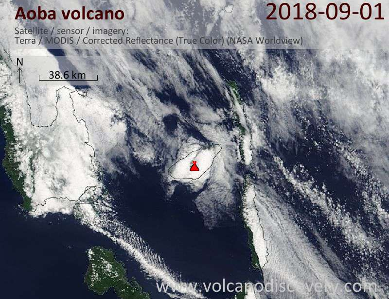 Satellite image of Aoba volcano on  1 Sep 2018
