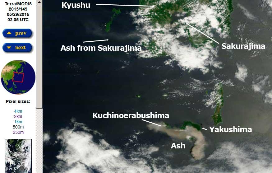Ash plumes from Kuchinoerabu-jima and Sakura-jima volcanoes today (MODIS Terra / NASA)